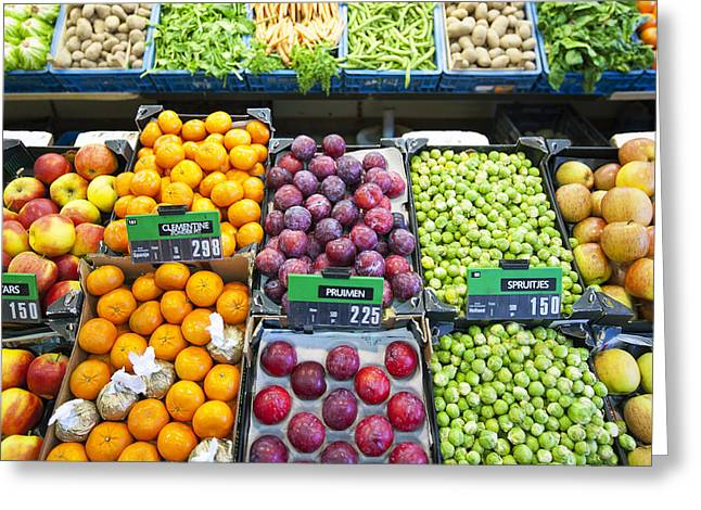 Greengrocer Greeting Cards - Assorted Fruit And Vegetables Apples Greeting Card by Corepics