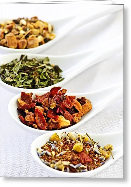 Various Greeting Cards - Assorted herbal wellness dry tea in spoons Greeting Card by Elena Elisseeva