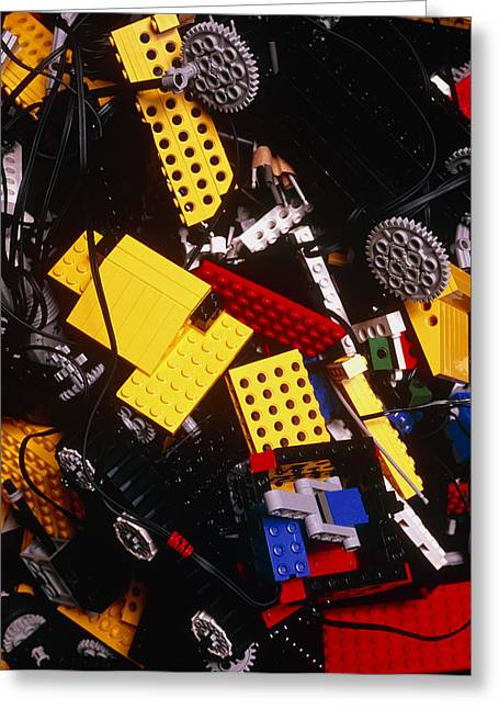 Cog Greeting Cards - Assorted Lego Bricks And Cogs. Greeting Card by Volker Steger