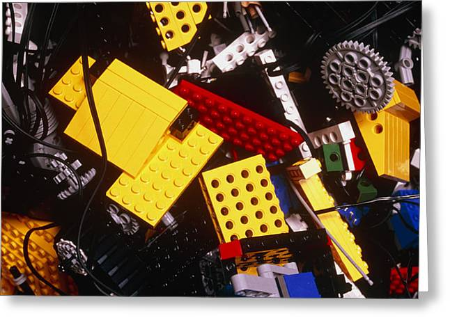 Assorted Lego Bricks And Cogs. Greeting Card by Volker Steger