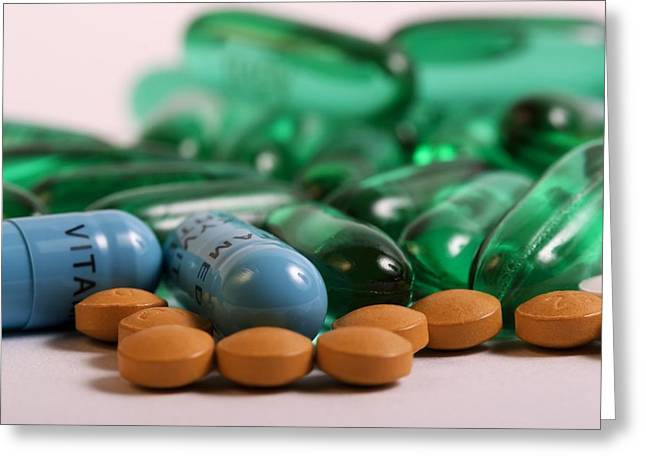 Medicament Greeting Cards - Assorted Pills And Medication Greeting Card by Photostock-israel
