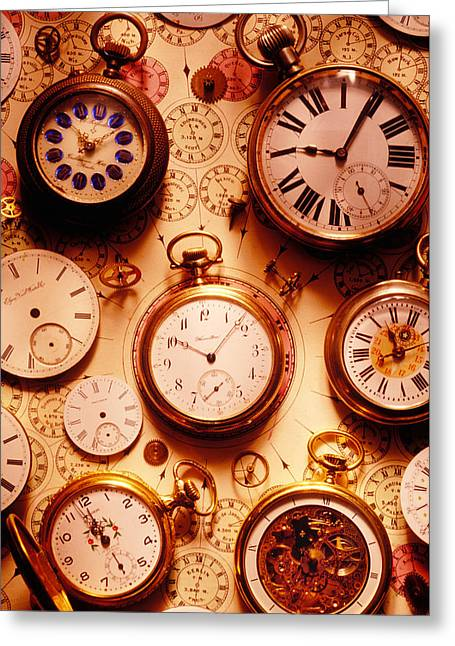 Gadget Greeting Cards - Assorted watches on time chart Greeting Card by Garry Gay