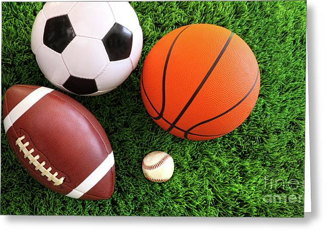 Spring Ball Greeting Cards - Assortment of sport balls on grass Greeting Card by Sandra Cunningham