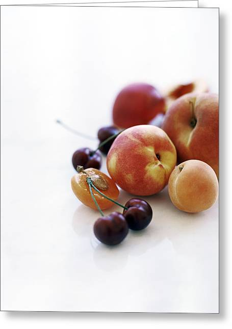 Apricot Greeting Cards - Assortment Of Summer Fruit Greeting Card by David Munns