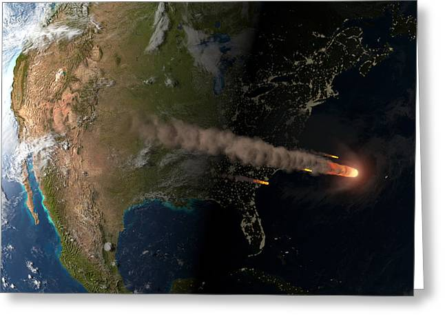 Florida East Coast Greeting Cards - Asteroid Approaching Earth Greeting Card by Joe Tucciarone Library