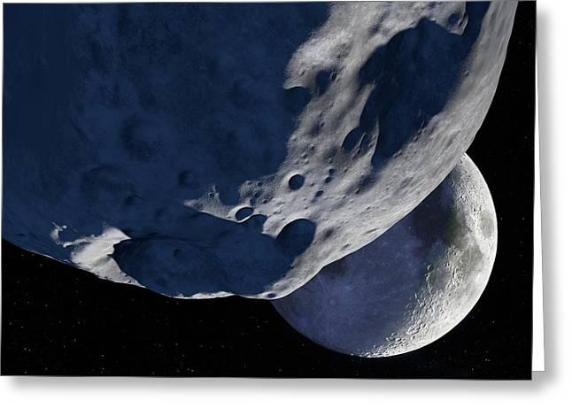 Selenology Greeting Cards - Asteroid Approaching The Moon, Artwork Greeting Card by Detlev Van Ravenswaay