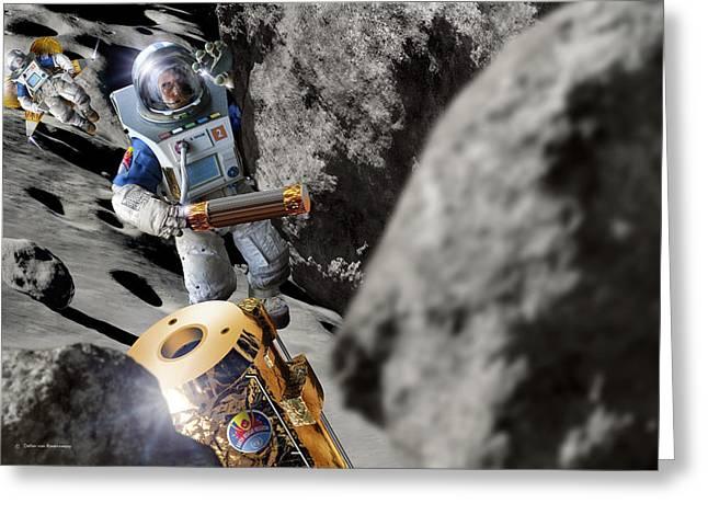 Detonating Greeting Cards - Asteroid Deflection, Astronauts Greeting Card by Detlev Van Ravenswaay