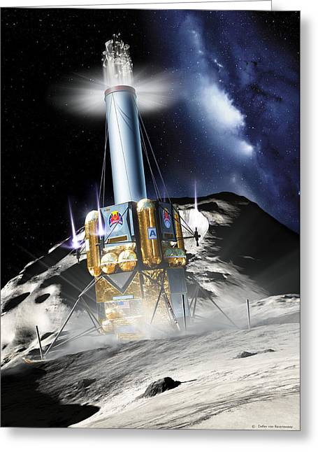 Ejected Greeting Cards - Asteroid Deflection, Mass Driver Robot Greeting Card by Detlev Van Ravenswaay