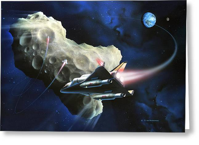 Detonating Greeting Cards - Asteroid Deflection, Nuclear Weapons Greeting Card by Detlev Van Ravenswaay