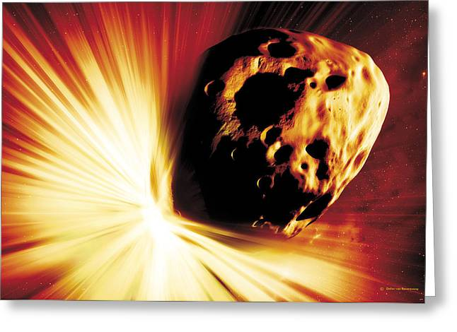 Detonating Greeting Cards - Asteroid Deflection, Stand-off Explosion Greeting Card by Detlev Van Ravenswaay