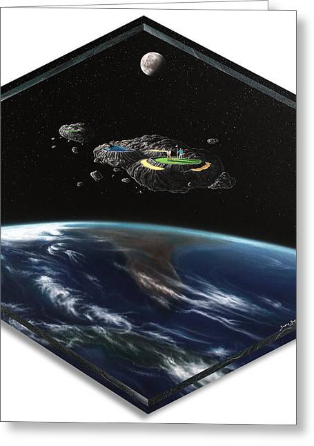 Outer Space Paintings Greeting Cards - Asteroid Golf Greeting Card by Snake Jagger