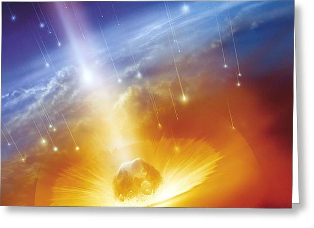 Asteroid Impacting The Earth, Artwork Greeting Card by Detlev Van Ravenswaay