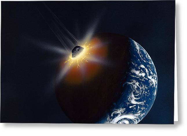 Asteroid Impacting The Earth, Artwork Greeting Card by Richard Bizley