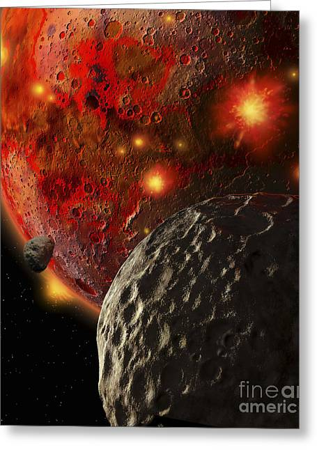 Primeval Greeting Cards - Asteroid Impacts On The Early Earth Greeting Card by Ron Miller