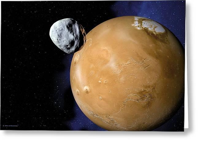 Asteroid Near Mars, Artwork Greeting Card by Detlev Van Ravenswaay