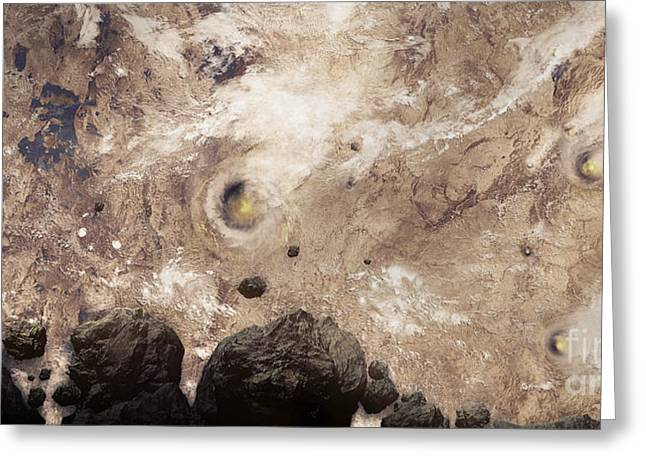 Approach Digital Art Greeting Cards - Asteroids Heading Toward Earth Greeting Card by Tomasz Dabrowski