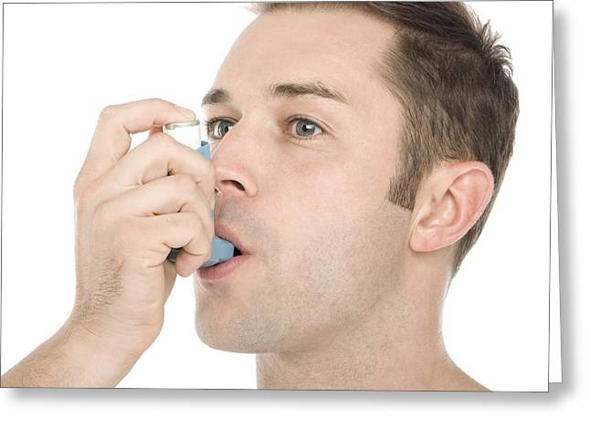 30-34 Years Greeting Cards - Asthma Inhaler Use Greeting Card by