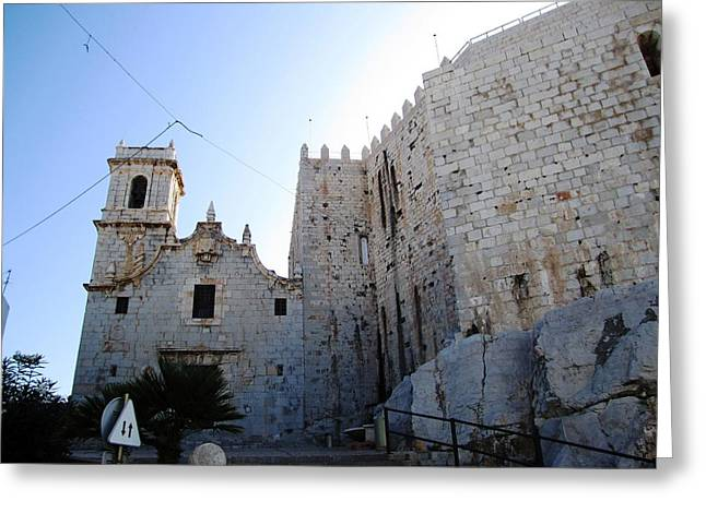 Astonishing Peniscola Castle Exterior Brick Wall In Spain Greeting Card by John Shiron