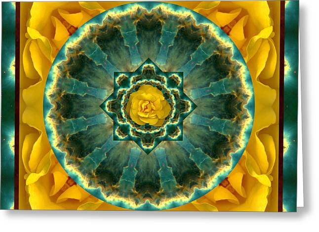 Yellow Chakra Greeting Cards - Astral Rose Greeting Card by Bell And Todd