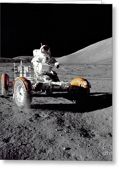 Roving Greeting Cards - Astronaut Drives The Lunar Roving Greeting Card by Stocktrek Images