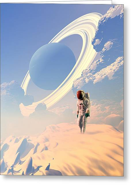 Colonisation Greeting Cards - Astronaut Exploring A Planet Greeting Card by Victor Habbick Visions