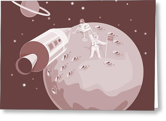 Rocket Greeting Cards - Astronaut Landing On Moon retro Greeting Card by Aloysius Patrimonio