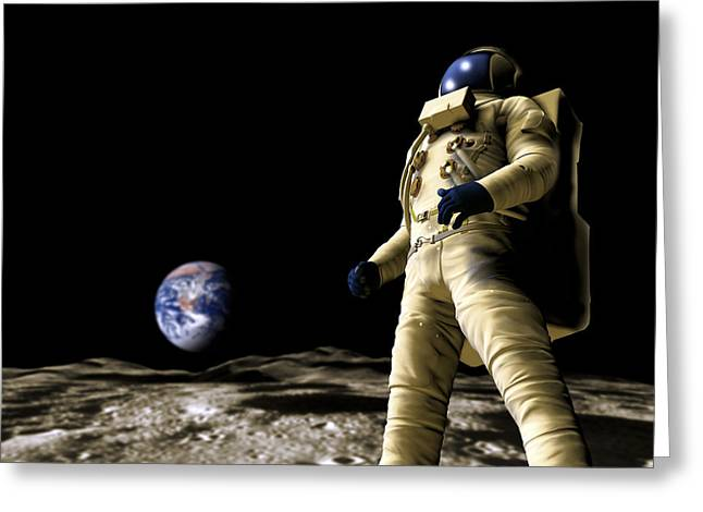 Astronaut On The Moon Greeting Card by Victor Habbick Visions