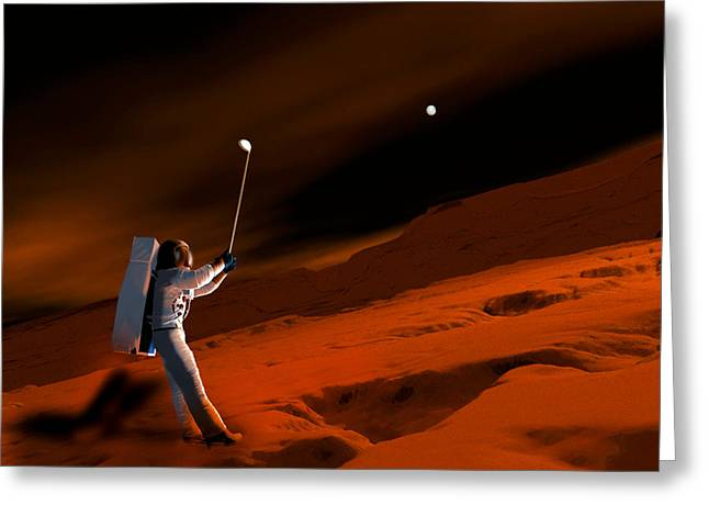 Sporting Activities Greeting Cards - Astronaut Playing Golf On Mars Greeting Card by Victor Habbick Visions