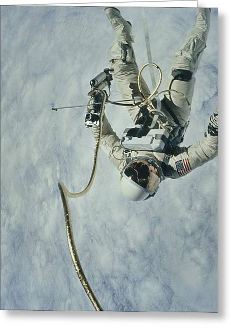Human Actions And Reactions Greeting Cards - Astronaut Propels Himself Greeting Card by Nasa