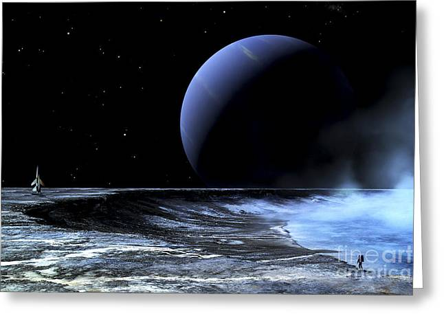 Gas Giant Greeting Cards - Astronaut Standing On The Edge Greeting Card by Frank Hettick