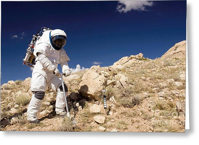 Sampling Greeting Cards - Astronaut Stands Beside A Core Sampling Greeting Card by Stocktrek Images