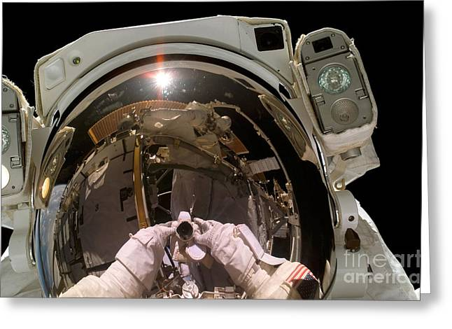 Self-portrait Photographs Greeting Cards - Astronaut Takes A Self-portrat Greeting Card by Stocktrek Images