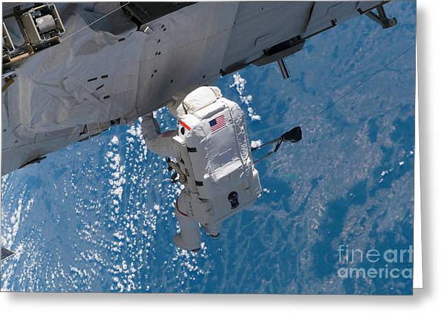 Translate Greeting Cards - Astronaut Traverses Along The Station Greeting Card by Stocktrek Images