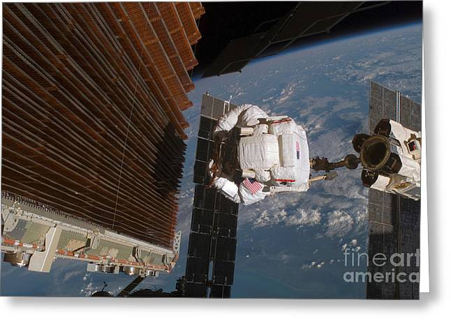 Checking Greeting Cards - Astronaut Works With The Port Overhead Greeting Card by Stocktrek Images