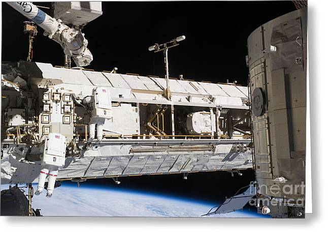 Astronauts Continue Maintenance Greeting Card by Stocktrek Images