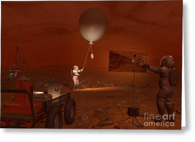 Moonwalk Digital Greeting Cards - Astronauts Release A Weather Balloon Greeting Card by Walter Myers