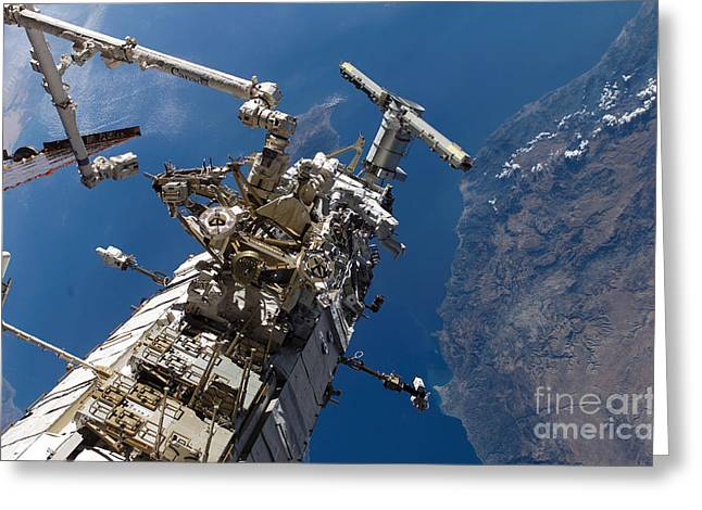 Translate Greeting Cards - Astronauts Traversing Along The Side Greeting Card by Stocktrek Images