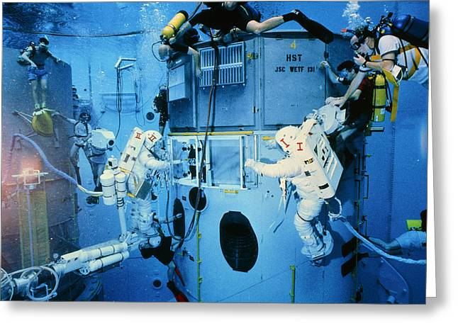 Hst Greeting Cards - Astronauts Underwater Rehersal, Hst Repair Mission Greeting Card by Nasa