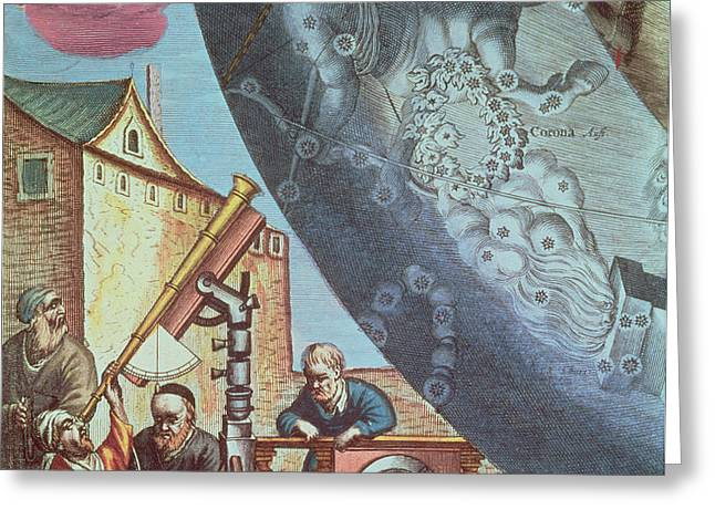 Astronomers looking through a telescope Greeting Card by Andreas Cellarius