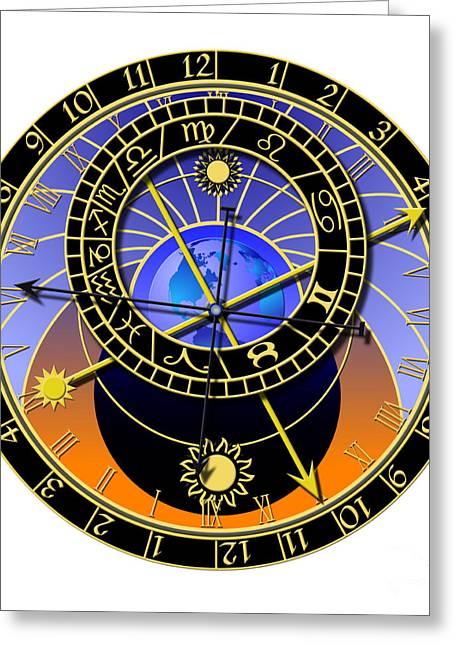Praha Digital Art Greeting Cards - Astronomical Clock Greeting Card by Michal Boubin