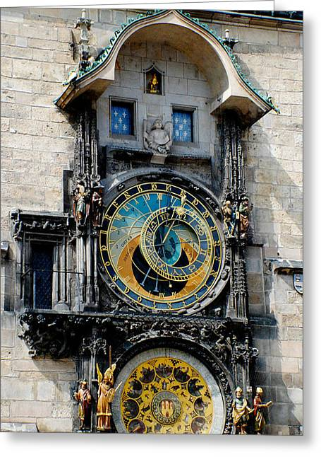 Astronomical Clock Greeting Card by Pravine Chester