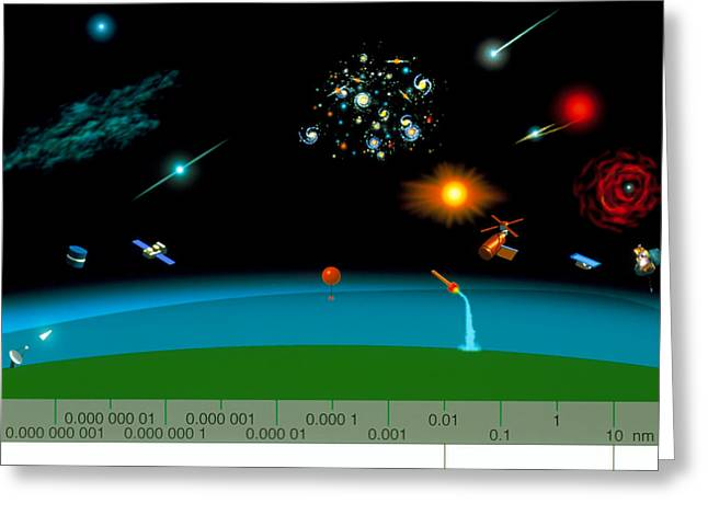 Gamma Rays Greeting Cards - Astronomy & The X-ray And Gamma Ray Spectrum Greeting Card by Julian Baum