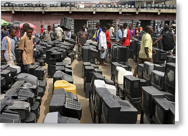 Electronics Industry Greeting Cards - At Alaba Market, Prospective Buyers Greeting Card by Peter Essick
