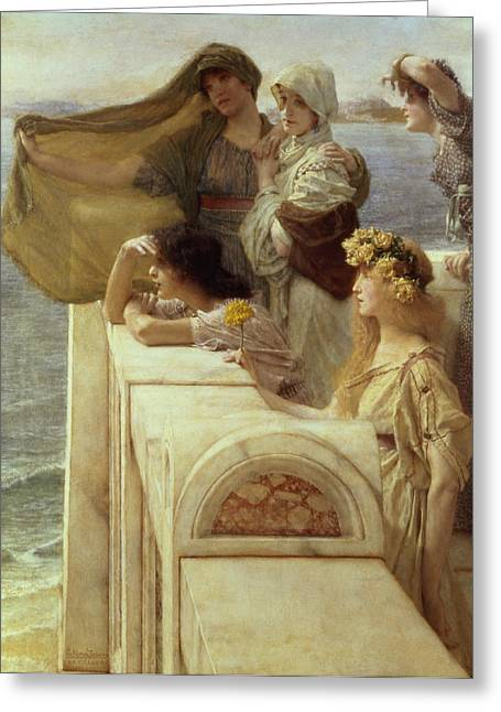 Watch Tower Greeting Cards - At Aphrodites Cradle Greeting Card by Sir Lawrence Alma-Tadema