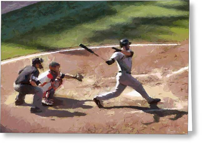At Bat Greeting Card by Lynne Jenkins