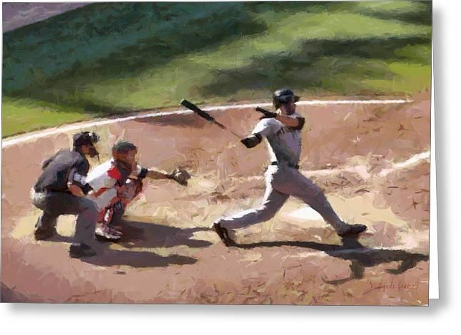 Baseball Uniform Paintings Greeting Cards - At Bat Greeting Card by Lynne Jenkins