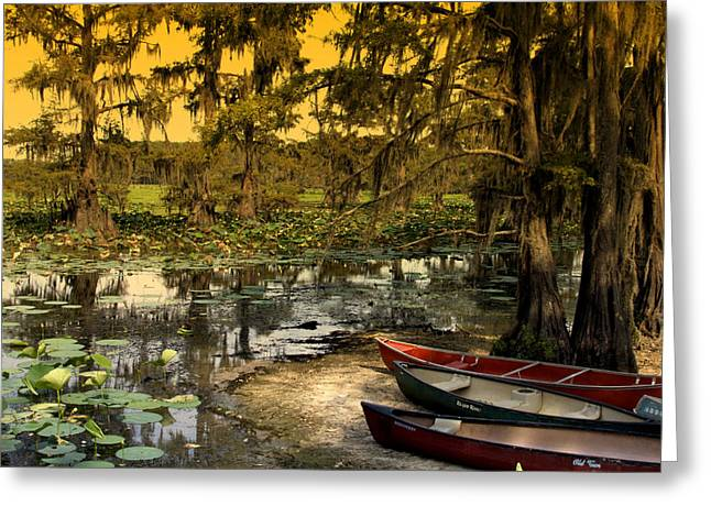 Canoe Greeting Cards - At Days End Greeting Card by Douglas Barnard