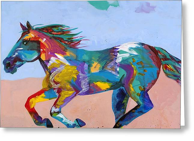 Wild Horse Greeting Cards - At Full Gallop Greeting Card by Tracy Miller
