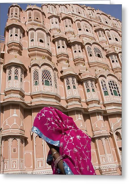 At Hawa Mahal City Palace, Jaipurs Most Greeting Card by Axiom Photographic
