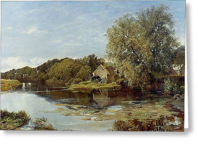 Water Mill Greeting Cards - At Milton Mill on the River Irvine Greeting Card by Horatio McCulloch